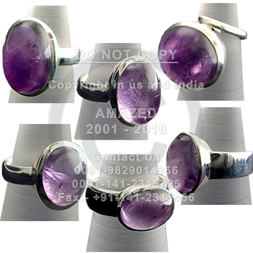 Wholesale natural semi precious studded beautiful handcrafted Cab Ring Amethyst stone used. per piece weight - 12 to 14 gm approx.Total 9 pcs approx.