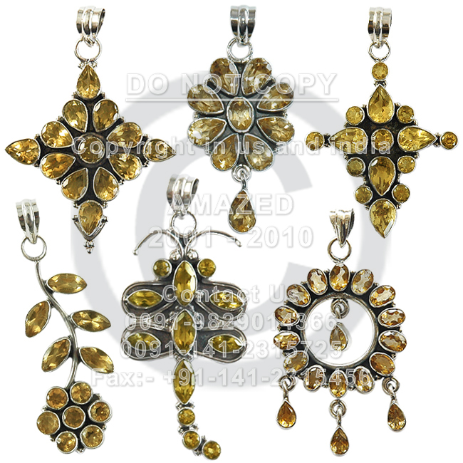 Wholesale natural semi precious studded beautiful handcrafted Cut Pendant Citrine stone used.per piece weight - 12 to 15 gm approx.Total 7 pcs approx.