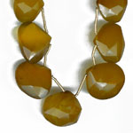 Yellow onyx faceted heart briolette