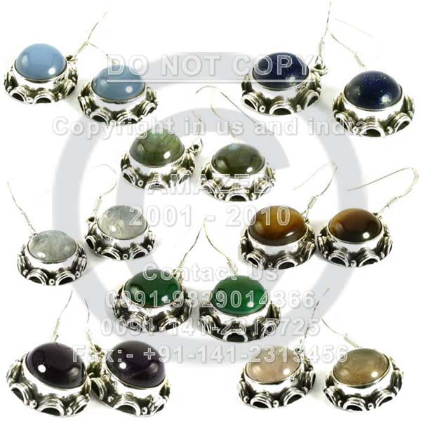 Wholesale natural semi precious studded beautiful handcrafted Earring Multi stones used. Total lot weight - 2 kg and per piece weight -  8 to 10 gm approx.