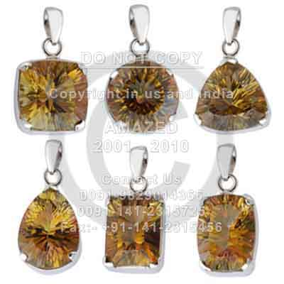 Wholesale natural semi precious studded beautiful handcrafted Cut Pendant Golden Mystic Topaz stone used. Total lot weight - 250 gm and per piece weight - 12 to 15 gm approx.