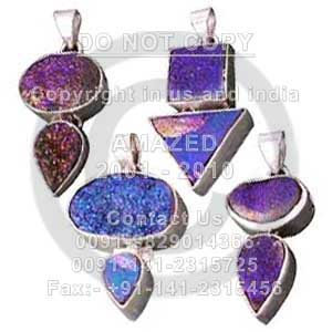Wholesale natural semi precious studded beautiful handcrafted Cab Pendant Titanimum Druzy stone used. Total lot weight - 250 gm and per piece weight - 16 to 22 gm approx.